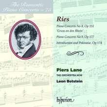 """Ferdinand Ries (1784-1838): Klavierkonzerte Nr.8 A-Dur op.151 """"Gruß an den Rhein"""" & Nr.9 g-moll op.177, CD"""
