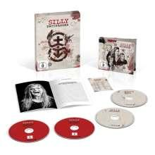 Silly: Wutfänger (Limited Super Deluxe Fanbox), 2 CDs, 1 Blu-ray Disc, 1 DVD, 1 Buch und 1 Merchandise