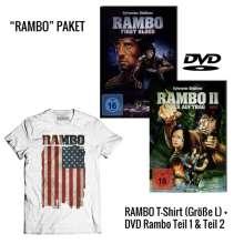 Rambo 1 &  2 (Geschenkset mit T-Shirt), 2 DVDs und 1 T-Shirt