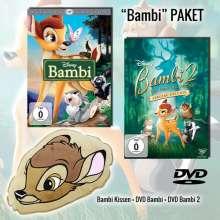 Bambi 1 & 2 (Geschenkset mit Plüschkissen), 2 DVDs und 1 Merchandise