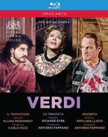 Giuseppe Verdi (1813-1901): 3 Operngesamtaufnahmen, 3 Blu-ray Discs