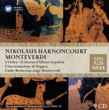 Claudio Monteverdi (1567-1643): Die 3 Opern: Orfeo; Ulisse; Poppea, 9 CDs