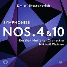 Dmitri Schostakowitsch (1906-1975): Symphonien Nr.4 & 10, 2 Super Audio CDs