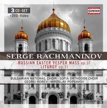 Sergej Rachmaninoff (1873-1943): Liturgie des Hl.Joh.Chrysostomus op.31, 3 CDs und 1 DVD