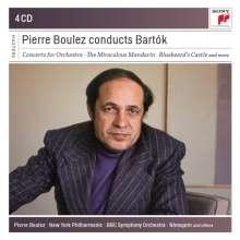 Bela Bartok (1881-1945): Pierre Boulez dirigiert Bartok, 4 CDs