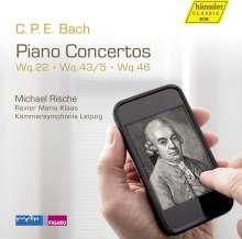 Carl Philipp Emanuel Bach (1714-1788): Klavierkonzerte Wq.22, Wq.43 Nr.5, Wq.46, CD