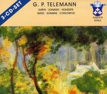 Georg Philipp Telemann (1681-1767): Suiten, Sonaten, Konzerte, 3 CDs