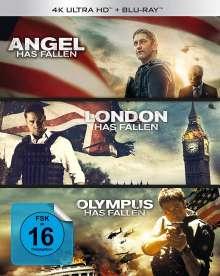 Olympus Has Fallen / London Has Fallen / Angel Has Fallen (Ultra HD Blu-ray & Blu-ray), 3 Ultra HD Blu-rays und 3 Blu-ray Discs