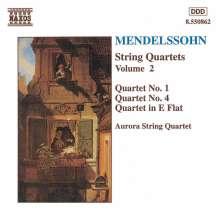 Felix Mendelssohn Bartholdy (1809-1847): Streichquartette Nr.0,1,4, CD