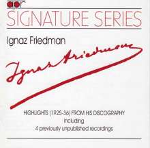 Ignaz Friedman - Highlights from his Discography, CD
