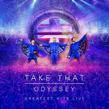 Take That: Odyssey (Greatest Hits Live) (Limited Hardcoverbook), 1 DVD, 1 Blu-ray Disc und 2 CDs