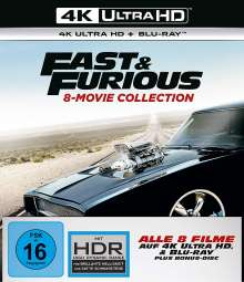 Fast & Furious (8-Movie Collection) (Ultra HD Blu-ray & Blu-ray im Digibook mit Hartkartonschuber), 8 Ultra HD Blu-rays und 9 Blu-ray Discs