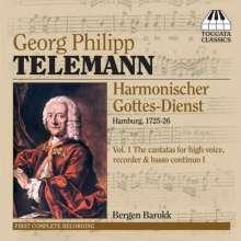 Georg Philipp Telemann (1681-1767): Harmonischer Gottesdienst Vol.1 (Kantaten für hohe Stimme, Blockflöte, Bc / Hamburg 1725/26), CD