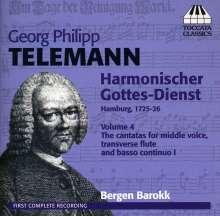 Georg Philipp Telemann (1681-1767): Harmonischer Gottesdienst Vol.4 (Kantaten für mittlere Stimme, Flöte, Bc - Hamburg 1725/26), CD