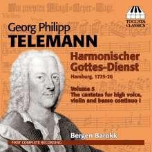 Georg Philipp Telemann (1681-1767): Harmonischer Gottesdienst Vol.5 (Kantaten für hohe Stimme, Violine, Bc / Hamburg 1725/26), CD