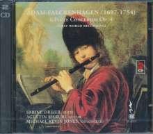 Adam Falckenhagen (1697-1754): Concerti op.4 Nr.1-6 für Flöte,Gitarre,Cello, 2 CDs