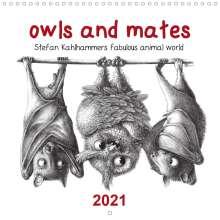 Stefan Kahlhammer: owls and mates 2021 (Wall Calendar 2021 300 × 300 mm Square), Kalender