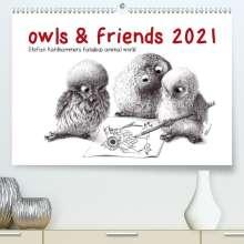 Stefan Kahlhammer: owls & friends 2021 (Premium, hochwertiger DIN A2 Wandkalender 2021, Kunstdruck in Hochglanz), Kalender