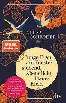 Alena Schröder: Junge Frau, am Fenster stehend, Abendlicht, blaues Kleid, Buch