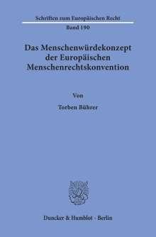 Torben Bührer: Das Menschenwürdekonzept der Europäischen Menschenrechtskonvention, Buch