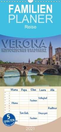 Melanie Viola: VERONA Historisches Stadtherz - Familienplaner hoch (Wandkalender 2021 , 21 cm x 45 cm, hoch), Kalender