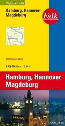 Falk Regionalkarte 05. Hamburg, Hannover, Magdeburg. 1 : 150 000, Diverse