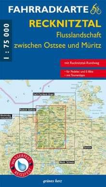 Fahrradkarte Recknitztal, Flusslandschaft zwischen Ostsee und Müritz 1:75.000, Diverse