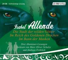 Isabel Allende: Die Stadt der wilden Götter / Im Reich des goldenen Drachen / Im Bann der Masken, 24 CDs