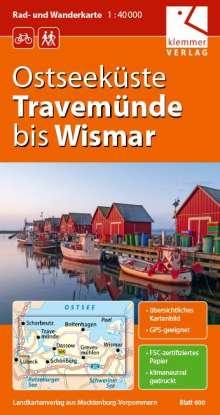 Christian Kuhlmann: Ostseeküste Travemünde bis Wismar Rad- und Wanderkarte  1 : 40 000, Diverse