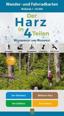 Der Harz in 4 Teilen. Wander- und Fahrradkartenset 1 : 30 000, Diverse