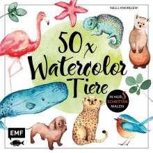 Nelli Andrejew: 50 x Watercolor Tiere, Buch