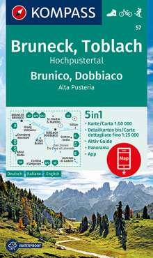 KOMPASS Wanderkarte Bruneck, Toblach, Hochpustertal / Brunico, Dobbiaco, Alta Pusteria 1:50 000, Diverse