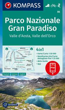 KOMPASS Wanderkarte Parco Nazionale Gran Paradiso, Valle d'Aosta, Valle dell'Orco 1:50 000, Diverse