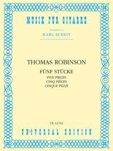 Thomas Robinson: Fünf Stücke für Gitarre, Noten